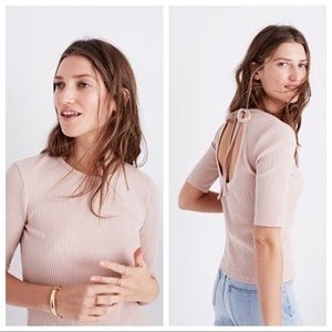 Madewell Pink Ribbed Open Back Top